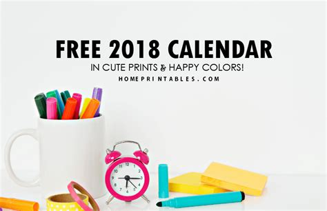 Photo Planner Home Design by Free Calendar 2018 Fun Colors In Really Cute Prints