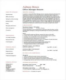 Office Manager Resume Template by 10 Office Manager Resumes Free Sle Exle Format