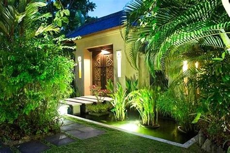villa entrance  night bali bali style home garden