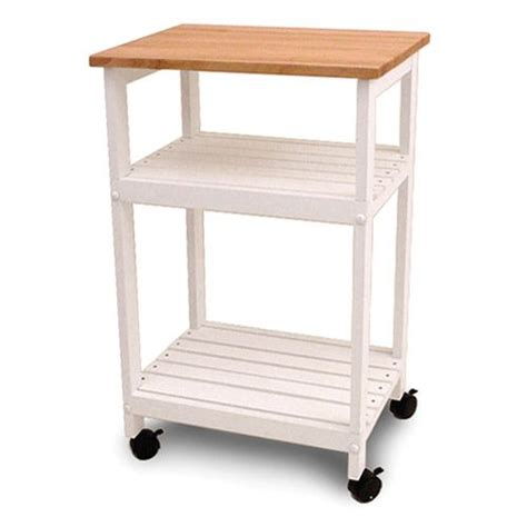 catskill craftsmen cottage kitchen cart utility microwave white butcher block cart catskill