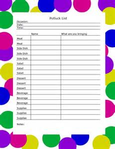 thanksgiving potluck signup sheet template potluck list images frompo 1