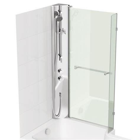 bath shower screens b q cooke lewis adelphi lh shower column l shaped bath screen w 815mm departments diy at b q
