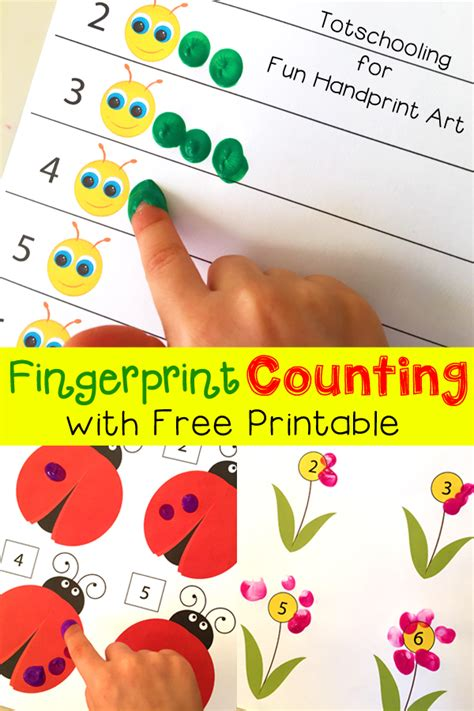 printable games for two year olds fingerprint counting printables for spring fun handprint art