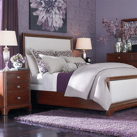 Violet Bedroom Designs Beautiful Purple Wall Colors For Modern Bedroom Design With Cherry Wood Cabinets Storage Also
