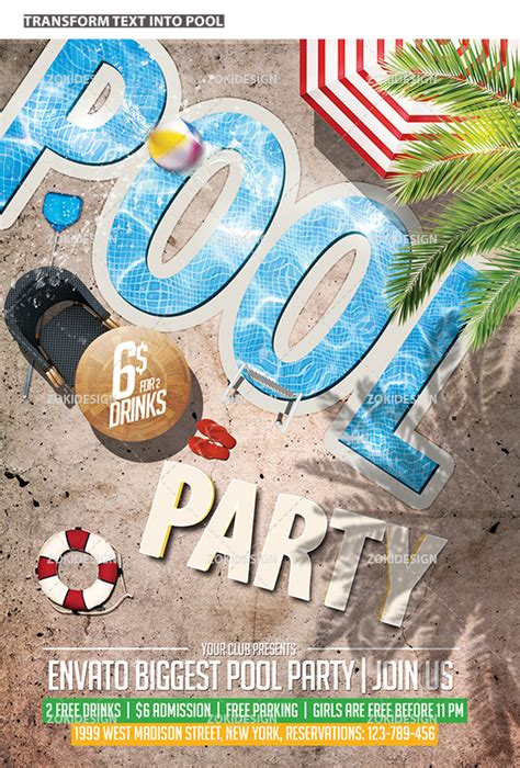 pool party flyer template zokidesign