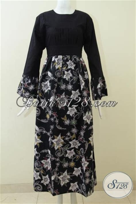 Kbt029 Kain Batik Tulis Katun Premium Motif Cantik Murah Bawahan batik gamis warna hitam kombinasi motif keren dan atasan kain polos abaya batik kombinasi tulis