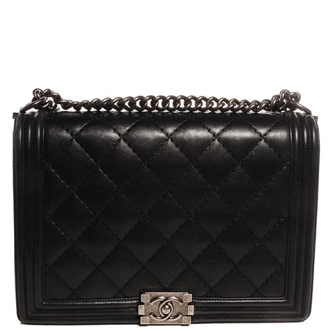 Chanel Boy Quilted by Chanel Calfskin Quilted Large Boy Flap Black 96504