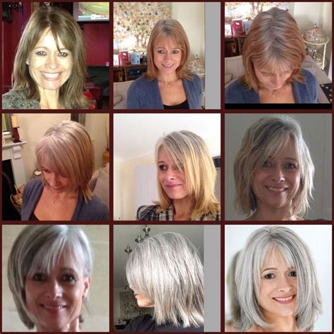 photos of transition to grey hair 11 month transition to grey silver pinterest