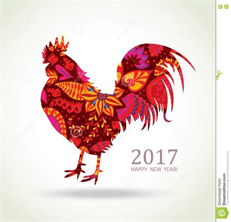 lainey new year rooster rooster new year greeting card stock vector image