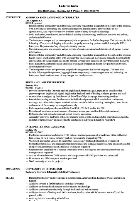Interpreter Resume by Interpreter Resume Sle Gallery Cv