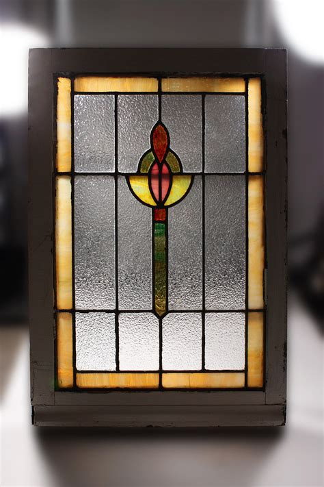 vibrant antique american stained glass window nsg