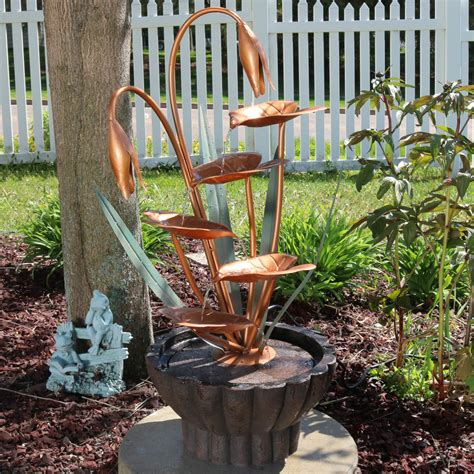 ls plus water fountains sunnydaze copper flower petals with five tier leaves