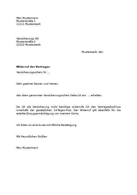 Vorlage Kündigung Der Lebensversicherung widerruf versicherungsvertrag muster zum downlaod