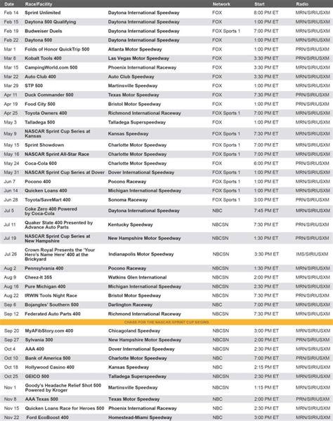 printable nascar schedule 2015 images nascar schedule