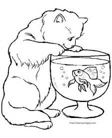 free animal coloring pages animal coloring pages cat and fish bowl