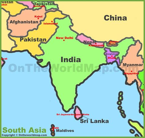 south asia map countries and capitals list of south asian countries gallery