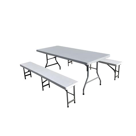 table et banc pliant ensemble table de jardin pliante 183cm et 2 bancs pliants