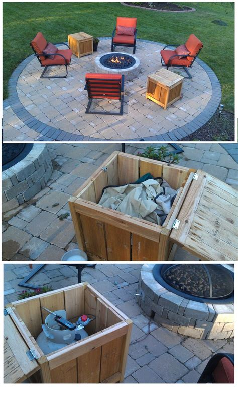 Diy Firepit Storage Tables One Holds The Propane Gas Tank