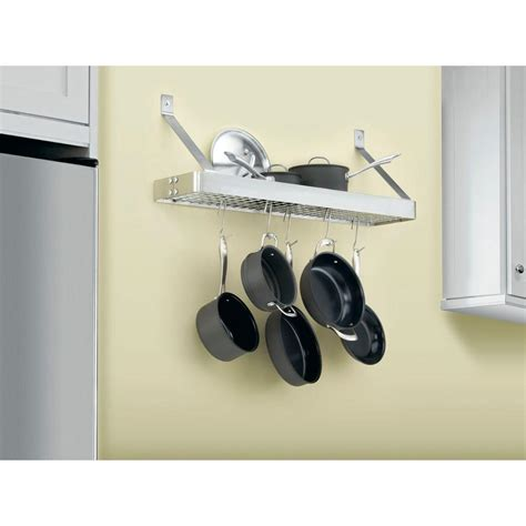 cuisinart 36 in rectangular bookshelf pot rack in brushed