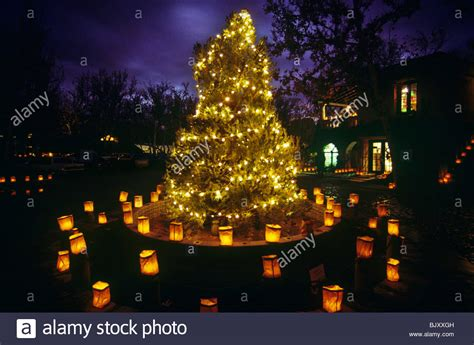 christmas tree and luminarias at tlaquepaque shopping