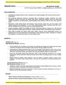 warehouse supervisor sle resume sle resume data warehouse manager