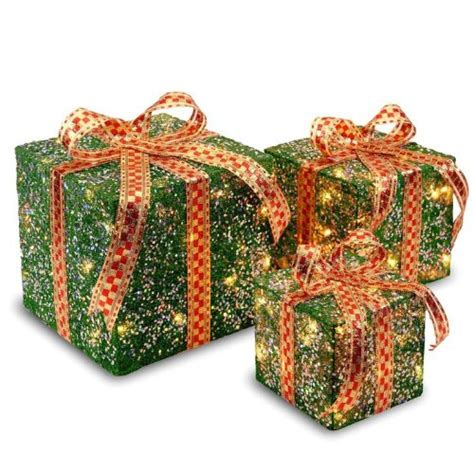 lighted gift boxes christmas indoor indoor outdoor assorted sisal gift boxes set christmas