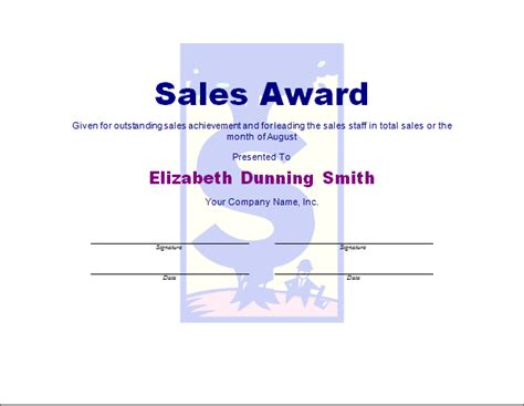 Sales Certificate Template sales award template free layout format