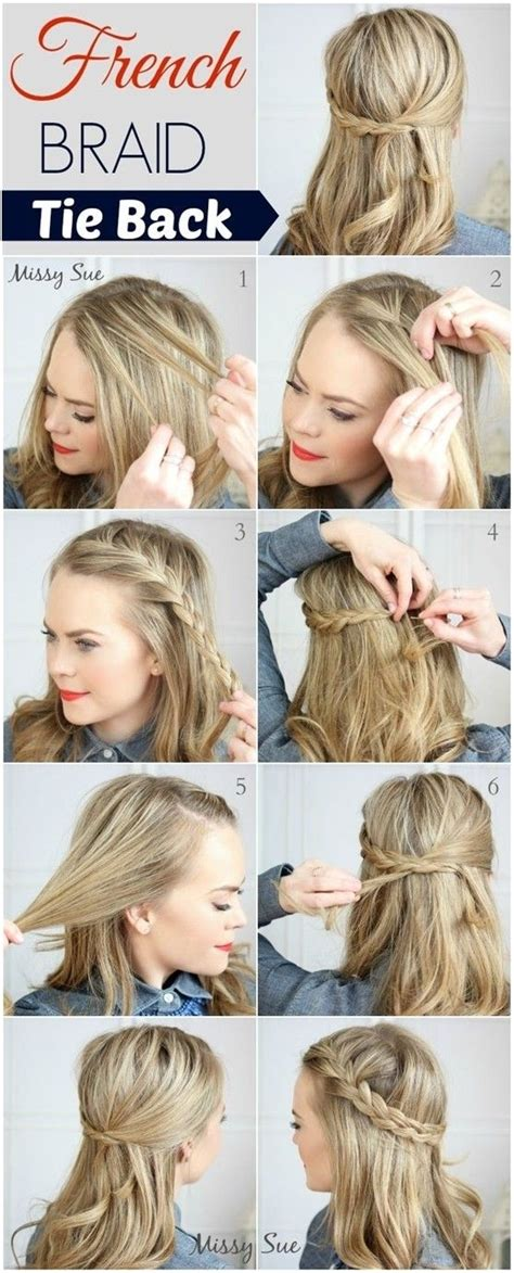 tie back hairstyles 10 french braid tie back 43 fancy braided hairstyle