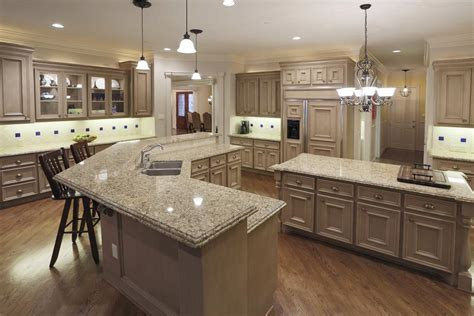 double island kitchen chef s kitchen double ogee edge granite countertops