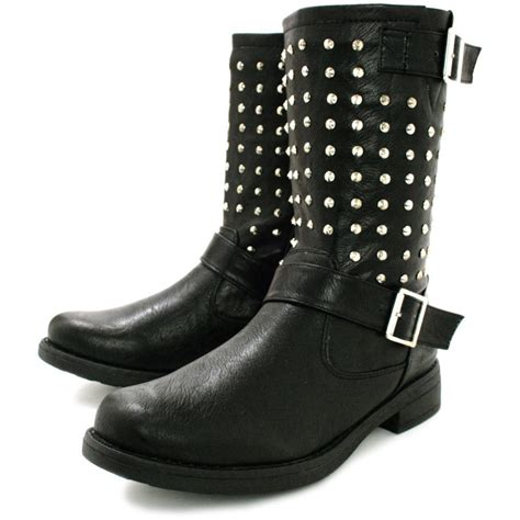 buy quinn flat studded buckle biker ankle boots black