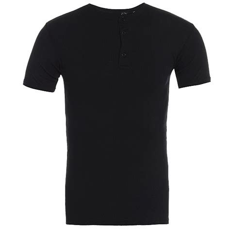 Ryusei Aikon T Shirt Black mens raiken ribbed grandad fitted sleeve cotton t