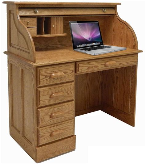 42 Quot W Solid Oak Single Pedestal Roll Top Laptop Desk Best Laptop Desk