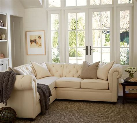 pottery barn l shaped couch chesterfield upholstered 3 piece l shaped sectional