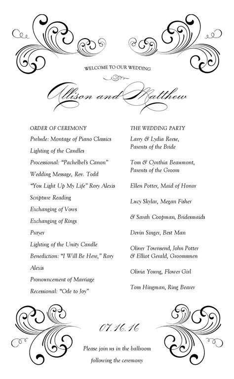 Wedding Reception Program Template Mommymotivation Wedding Reception Program Template
