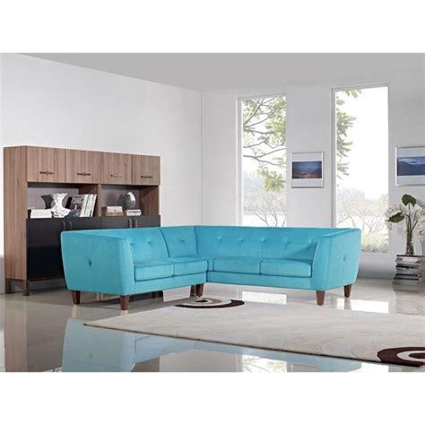 Diamond Sofa Aqua 2 Piece Corner Fabric Sectional In Blue