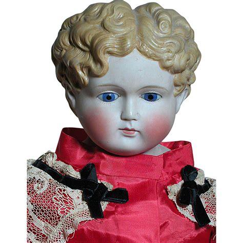 parian shoulder head doll large antique glass eyed parian shoulder doll