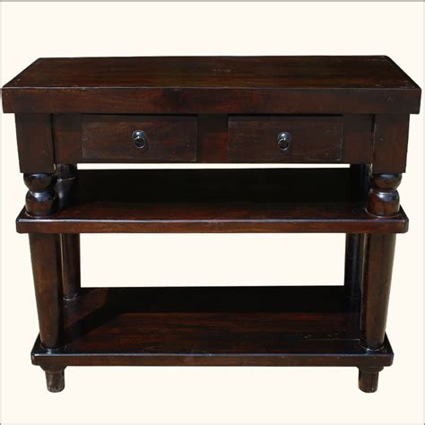Foyer Console Table by Mahogany Solid Wood 2 Storage Drawers Entry