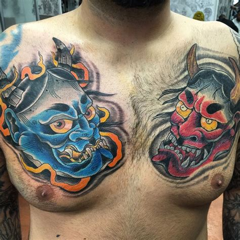red demon tattoo blue japanese golfian