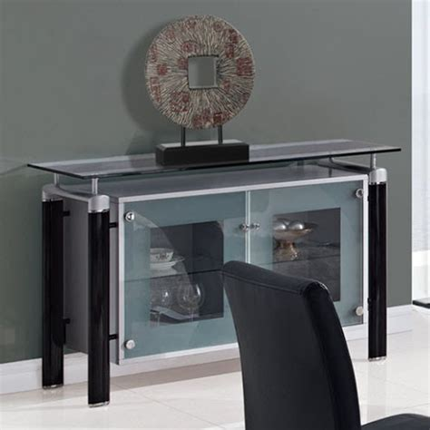 global furniture clear glass top buffet with black legs