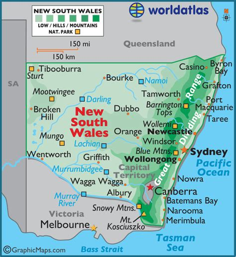 map of new south wales new south wales australia large color map