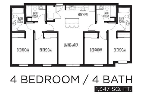 2 Bedroom 1 Bath Mobile Home Floor Plans by 4 Bedroom Floor Plans Home Design