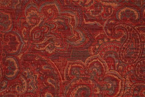Mill Creek Upholstery Fabric by Demarest In Crimson Chenille Tapestry Upholstery Fabric By