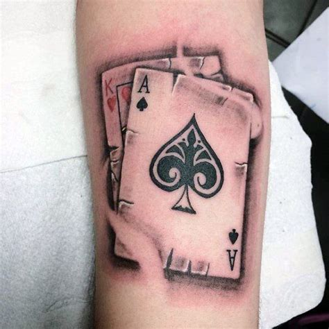 playing card tattoo king of hearts with ace of spades mens card arm