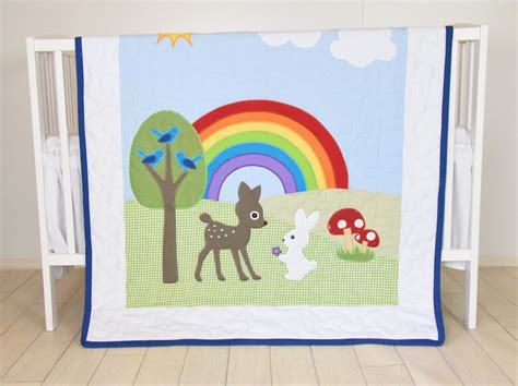 quilt crib bedding rainbow baby blanket baby boy or crib bedding