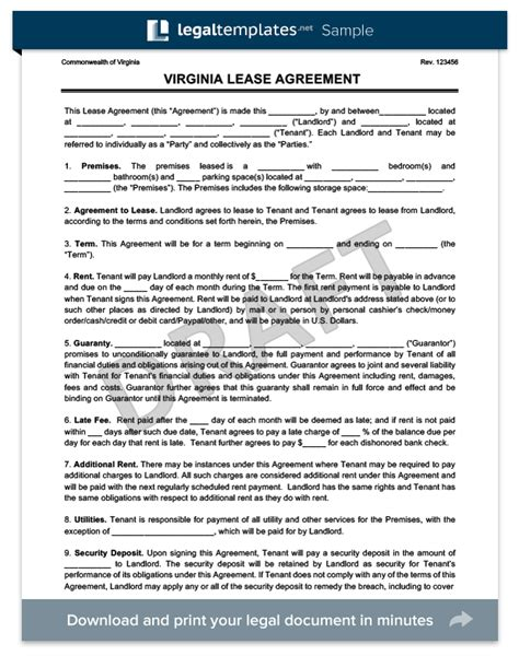 Virginia Residential Lease Rental Agreement Create Download Virginia Lease Template