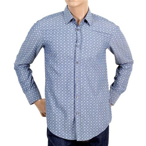 hugo boss pattern t shirt buy light blue mens paisley shirt by hugo boss black