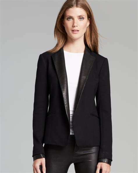 Bench Jeans Women Theory Blazer Leandria Classical Leather Trim In Black