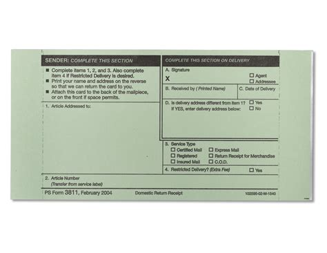 domestic return receipt