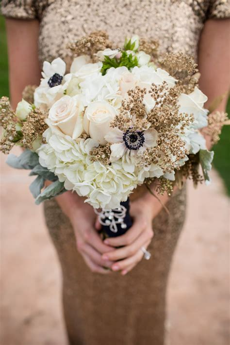 Wedding Bouquet Gold by Glamorous Winter Wedding Styled Shoot The Magazine