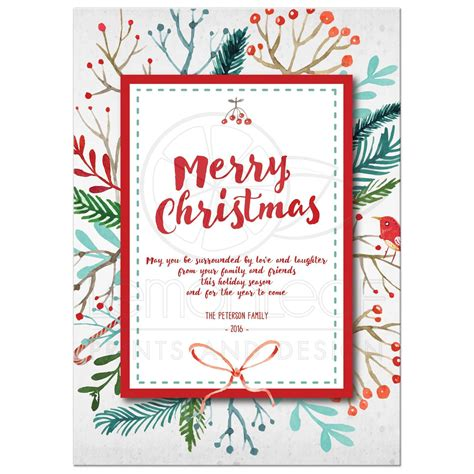 Teal Home Decor merry christmas card watercolor holiday foliage